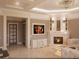 Дом для мужика в классике: Гостиная в . Автор – Архи Групп