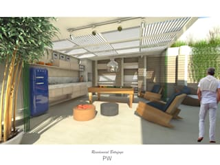 Área Externa Le Palais Salas de estar minimalistas por Paula Werneck Arquitetura Minimalista