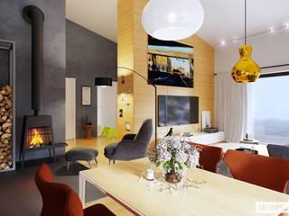 Ralf II G1 ENERGO PLUS - mały dom, który zachwyca Nowoczesna jadalnia od Pracownia Projektowa ARCHIPELAG Nowoczesny