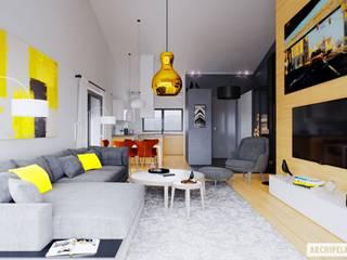 Ralf II G1 ENERGO PLUS - mały dom, który zachwyca Nowoczesny salon od Pracownia Projektowa ARCHIPELAG Nowoczesny
