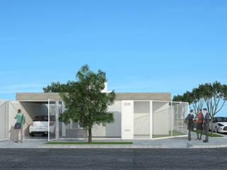Imagen frente vivienda en esquina: Casas de estilo  por LK ESTUDIO