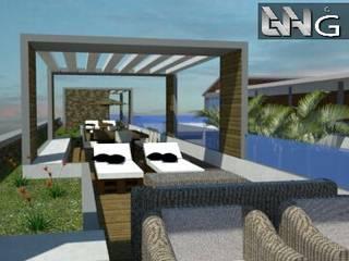 Terraza que se conecta con las habitaciones de primera planta: Hoteles de estilo  por Grupo GANA, C.A.