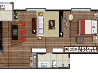 现代客厅設計點子、靈感 & 圖片 根據 Thaís Loureiro 現代風