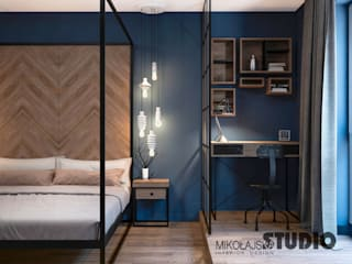 Niebieska sypialnia Industrialna sypialnia od MIKOŁAJSKAstudio Industrialny
