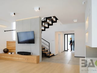 dom na Jurze: styl , w kategorii Salon zaprojektowany przez BAK Architekci