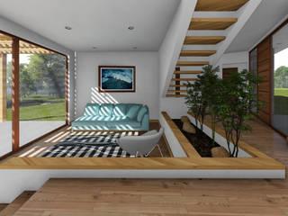 CASA CY: Livings de estilo  por EjeSuR Arquitectura