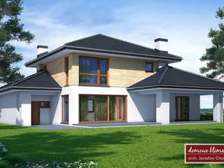 Projekt domu Kaskada T - widok od ogrodu: styl , w kategorii  zaprojektowany przez Domowe Klimaty J. Charkiewicz