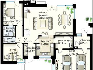Projekt domu Kaskada T - rzut parteru: styl , w kategorii  zaprojektowany przez Domowe Klimaty J. Charkiewicz