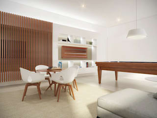 Salle multimédia minimaliste par Cecília Mesquita Arquitetura Minimaliste