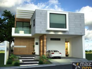 FACHADA PRINCIPAL: Casas de estilo moderno por Mazpro Arquitectura