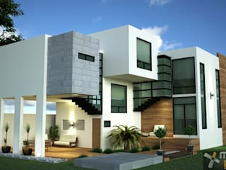 FACHADA POSTERIOR: Casas de estilo moderno por Mazpro Arquitectura