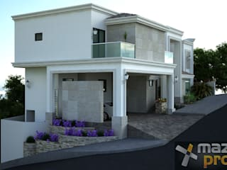 FACHADA LATERAL: Casas de estilo ecléctico por Mazpro Arquitectura