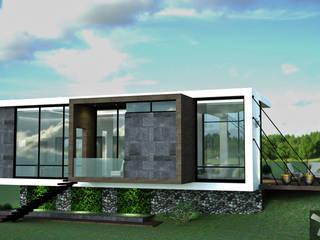 FACHADA PRINCIPAL: Casas de estilo minimalista por Mazpro Arquitectura
