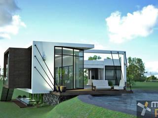 FACHADA HACIA EL LAGO: Casas de estilo minimalista por Mazpro Arquitectura