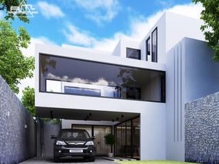 FACHADA CASA BSC: Casas de estilo moderno por RM ARQUITECTURA