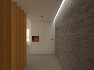 Reforma del interior i  terrasses de la planta atic al edifici del Institut Frances de Barcelona, C/ Moia, 8: Pasillos y vestíbulos de estilo  de A2 arquitectura interior