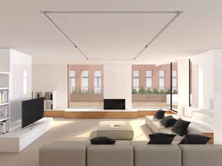 Reforma del interior i  terrasses de la planta atic al edifici del Institut Frances de Barcelona, C/ Moia, 8: Salones de estilo  de A2 arquitectura interior