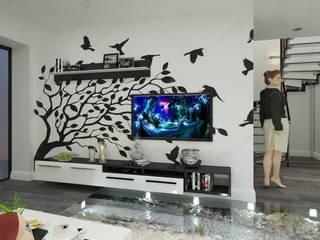 Дизайн-интерьера жилого дома с использованием систем умный дом и технологиями энергосбережения: Гостиная в . Автор – СИРИУS Архитектурное бюро