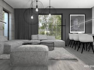 DOM POKAZOWY minimal Nowoczesny salon od Gradomska Architekci - Interiors Nowoczesny