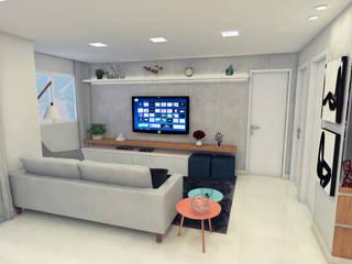 Apartamento DF: Salas de estar  por Luiz Coelho Arquitetura,Moderno