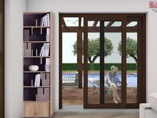 Progetto preliminare per villetta singola zona Versilia (LU): Soggiorno in stile in stile Mediterraneo di davide strambi architetto