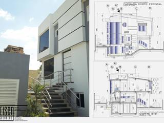 Fachada Frontal. Detalle de la escalera frontal exterior: Casas de estilo escandinavo por Eisen Guerrero Arquitecto