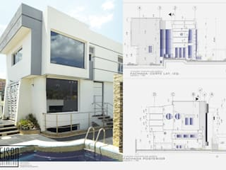 Fachada Frontal-Lateral (Este-Sur): Casas de estilo escandinavo por Eisen Guerrero Arquitecto