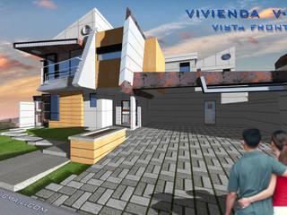 Vista Frontal sur/este. Vivienda V12. : Casas de estilo escandinavo por Eisen Guerrero Arquitecto