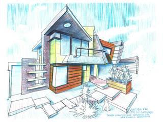 Vista Frontal sur/este a mano alzada. Vivienda V12. : Casas de estilo escandinavo por Eisen Guerrero Arquitecto