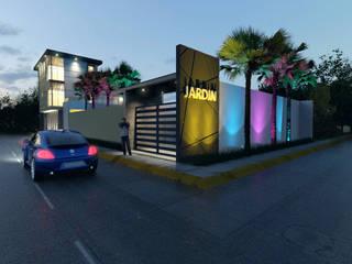 Salon de eventos y oficinas: Jardines de estilo moderno por URBVEL Constructora e Inmobiliaria