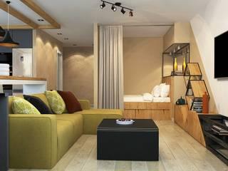 ДизайнМастер Ruang Keluarga Modern Beige