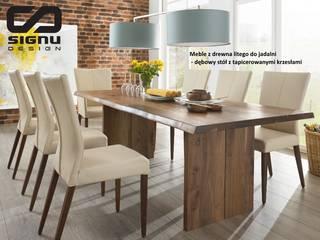 Stoły i krzesła drewniane do salonu i jadalni : styl , w kategorii  zaprojektowany przez Signu Design