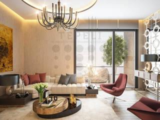 Tepeli İç Mimarlık – istanbul sarayları - Oturma Odası - Halkalı - Sinpaş :  tarz Oturma Odası