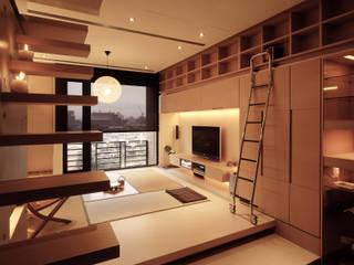 住宅(場域 ●界定) 鼎爵室內裝修設計工程有限公司 走廊 & 玄關 合板 Brown