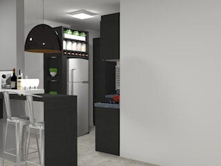 Cozinha para casal jovem - Navegantes - SC Cozinhas modernas por Daleffe e Marques Arquitetura Moderno