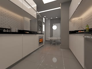 Cozinha prática e moderna.:   por Eunice Oliveira Arquitetura e Interiores