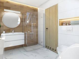 ŁAZIENKA W DOMU JEDNORODZINNYM/ Orzech Nowoczesna łazienka od TIUK Studio Nowoczesny