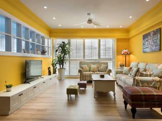 色彩宮殿 Temperature of color:  客廳 by Glocal Architecture Office (G.A.O) 吳宗憲建築師事務所/安藤國際室內裝修工程有限公司