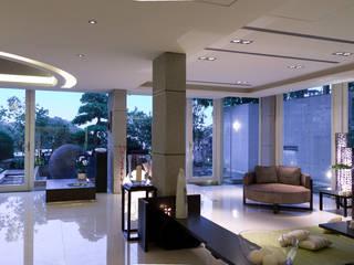 住宅(漫步雲間) 鼎爵室內裝修設計工程有限公司 客廳 磁磚 White
