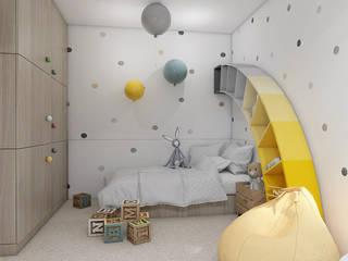 TĘCZOWY POKÓJ DZIECKA Nowoczesny pokój dziecięcy od UTOO-Pracownia Architektury Wnętrz i Krajobrazu Nowoczesny