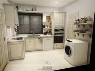 บ้านพักคุณเพชร+คุณหนุ่ม @วรารมย์ พรีเมียม เชียงใหม่.:  ห้องครัว by เหนือ ดีไซน์ สตูดิโอ (North Design Studio)