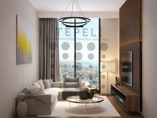 Tepeli İç Mimarlık – Tema istanbul- Halkalı - Blok 13 - Oturma Odası - Tv Ünitesi Tasarımı:  tarz Oturma Odası