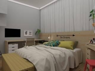 北欧スタイルの 寝室 の UNUM - ARQUITETURA E ENGENHARIA 北欧