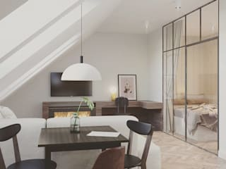 Mieszkanie na poddaszu: styl , w kategorii Jadalnia zaprojektowany przez Pracownia projektowa Na Antresoli
