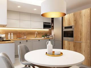 Kuchnia biało szara z drewnem Nowoczesna kuchnia od APP Proste Wnętrze Maria Podobińska-Tuleja Nowoczesny
