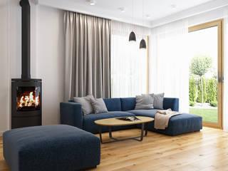 Dom w Zielonkach: styl , w kategorii Salon zaprojektowany przez APP Proste Wnętrze Maria Podobińska-Tuleja