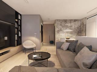 Mieszkanie z marmurem, Katowice 80 m2 Minimalistyczny salon od TIKA DESIGN Minimalistyczny