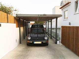 mube arquitectura Modern garage/shed
