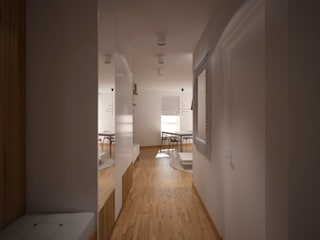 Mieszkanie w bloku Skandynawski korytarz, przedpokój i schody od Puku Studio Skandynawski