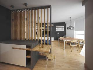 Mieszkanie w bloku: styl , w kategorii Salon zaprojektowany przez Puku Studio